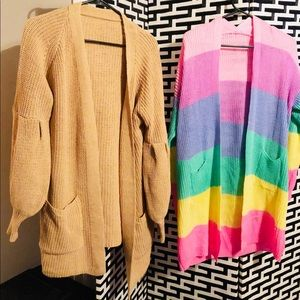 Two cardigans rainbow and brown bubble sleeves
